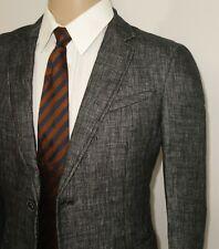 $498 NEW John Varvatos LUXE Blazer in Grey Size 38 100% Linen