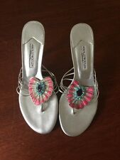 Gorgeous Hollywould Silver Leather Peacock Thong Heels Made In Italy Sz 7 B