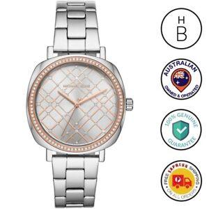 New Michael Kors Ladies Watch Nia Silver Rose Gold Trim Crystal Glitz MK3988