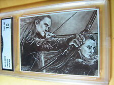 LEGOLAS LORD OF THE RINGS ARTIST AUTOGRAPH 2014 ACEO ART CARD PRINT GRADED 10 B