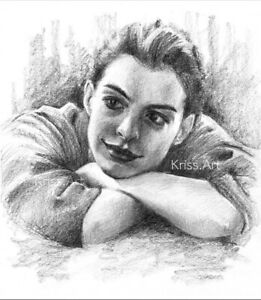 Anne Hathaway ritratto a matita disegno originale