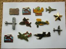 AEROPLANES JETS MILITARY ARMY SPITFIRE STEALTH BOMBER WW2 PIN BADGE JOB LOT 99p