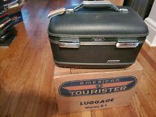 american tourister vintage luggage blue tri-taper make up case w/ box!