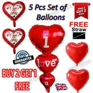 5Pcs/set 18 Inch Love Heart Foil Helium Balloons Wedding Party Birthday Decor