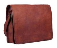 """16"""" Real Vintage Leather Large Messenger Laptop Shoulder Briefcase Men's Bag"""