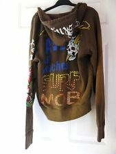 ED HARDY by Christian Audigier sample studs hoodie military green M Rt $80 last1