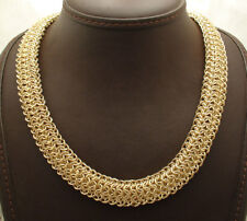 "18"" Technibond Bold Mirror Byzantine Chain Necklace 14K Yellow Gold Clad Silver"