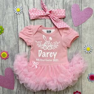 BABY GIRL PERSONALISED EASTER OUTFIT Pink Tutu Romper Polka Dot Headband Bunny