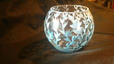10 pic Candles Holders SILVER & BLUE LEAVES clear Glass Vase Tea Light & Wedding
