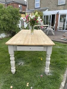 Vintage Pine 7 Foot Farmhouse Kitchen Dining Table With Drawers Refurbished