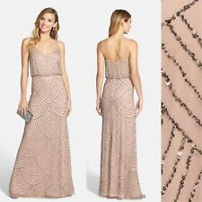 NWT Adrianna Papell Embellished Blouson Gown Taupe Pink [SZ 8] #N790