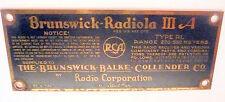 BRUNSWICK * BR-35 PHONOGRAPH w RCA RADIOLA III-A: RADIOLA III-A NAMETAG & screws