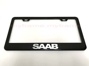 SAAB BLACK Metal License Plate Frame Tag Holder with Caps