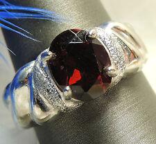 Unisex 8 X 10mm GARNET Sterling Silver 0.925 ESTATE COCKTAIL Ring size 9