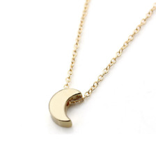 Minimalist Small Half Moon Necklace Charm -Silver or Gold- U.S.A Seller