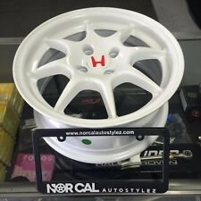 "NEW JDM ITR WHEELS 4X100 15"" CHAMP WHITE INTEGRA TYPE R HONDA ACURA 4 RIMS WHEEL"