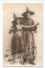 BM753 Carte Photo vintage card RPPC Couple mode fashion chapeau hat déguisement