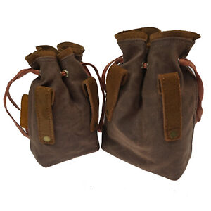 Suede Leather Drawstring Ammo Cartridge Bag Rifle Shotshell Holder Storage Pouch