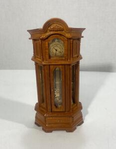 "Reutter Porzellan Miniature Wood Grandfather Clock 1:12 w/ Figurines 7"" Germany"