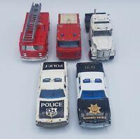 Lot of 5 Vintage Majorette Die Cast Service Vehicles Police Car Fire Truck NASA
