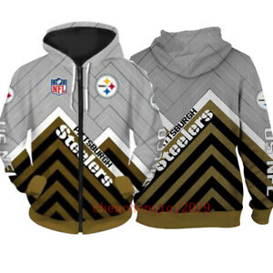 Pittsburgh Steelers Hoodie Fan's Hooded Zipper Sweatshirt Casual Jacket Coat