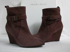 Charles David Size 6 M Esme Bordeaux Suede Ankle Wedges Boots New Womens Shoes