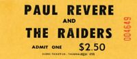 VINTAGE PAUL REVERE &THE RAIDERS/MARK LINDSAY TOUR UNUSED  CONCERT TICKET-YELLOW