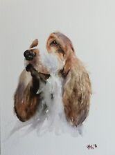 R Mee Fine Art Original Watercolour Painting - Spaniel - dog portrait