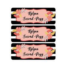 School Name Labels, Waterproof, Daycare Labels, Camp, Black White Stripe Flowers