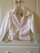 Tadashi Collection White Blouse Shirt Size 12, $228, Zipper Back, Plunge Neck