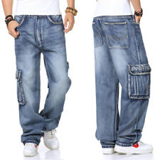Big & Tall Mens Cargo Jeans Relaxed Fit Trousers Baggy Wide Leg Jean W32-W46 L32