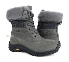 UGG Adirondack II Exotic Charcoal Leather Fur Boots Womens Size 9 *NIB*