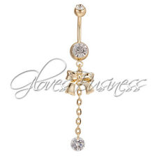 1pc Body Jewelry Piercing Gold Bowknot Dangle Navel Belly Button Ring