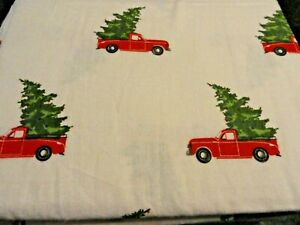 new 3 pc TWIN 100%  cotton Flannel Sheet set Vintage Red trucks Christmas trees