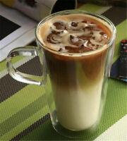 400ML INSULATED MILK TEA CUP THERMO GLASS CAPPUCCINO COFFEE MUG WITH HANDLE GIFT
