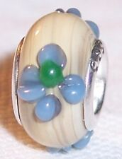 Tan Blue Green Flower Brown Murano Glass Bead for Silver European Charm Bracelet