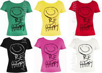 Womens Short Sleeve Be Happy Print T Shirt Ladies Casual Top Tee Size 8-14