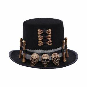 """Voodoo Priest Hat"" Macabre Practicing Priests Black Top Hat 30 x 27 x 15 cms"