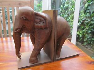 Wonderful Vintage Art Deco Style Lucky Elephant Wooden Bookends