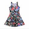 Vintage Mod Flower Floral Print Trendy Stretchy Lightweight Summer Skater Dress