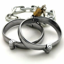 STAINLESS STEEL ANKLE SHACKLES WITH LOCKS AND CHAIN, LOCKABLE, UK FAST POST