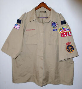 BOY SCOUTS Of America Poplin Uniform Shirt BSA #1119 w/ Patches Womens Sz 50/52