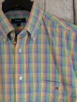 GANT Size M Men's Shirt Rainbow Check Georgica Poplin Regular Fit Short Sleeve