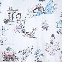 "Pr Vtg 50s Cotton Fairy Tale Cinderella Shabby Chic Curtain Panels Fabric 35x73"""