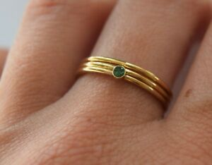 Emerald ring, gold filled stacking rings, 14k gold filled ring, handmade UK