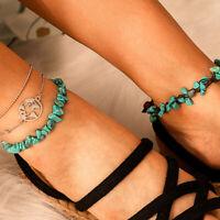 Boho Handmade Man Feather Leather Rope Anklets Barefoot Sandal Beach JewelryTOs
