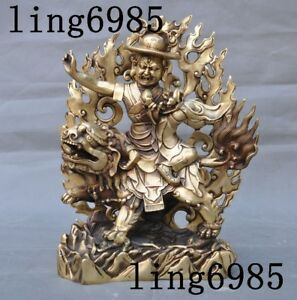 Tibet buddhism brass ride beast White Jambhala Mammon wealth God buddha statue