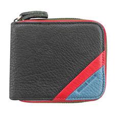 Skyler Men's Black Genuine Leather Bifold Wallet Card Holder Zip-Around Purse