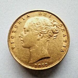 Queen Victoria Shield Back Sovereign 1877S Sydney. Gold 7.98 grams 22.05 mm.