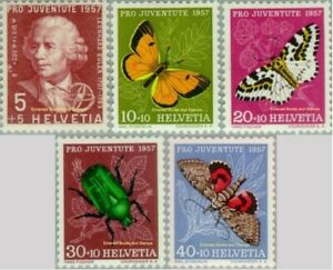 EBS Switzerland Helvetia 1957 Pro Juventute - Euler & Insects 648-652 MNH**